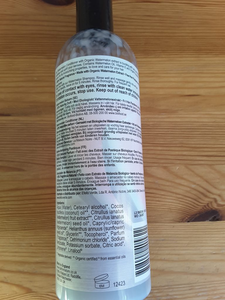 Faith in Nature Watermelon Conditioner - the back of the bottle, showing the ingredients