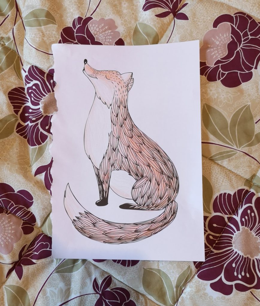 A picture of a fox, coloured in with shades of orange and brown.