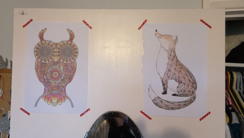 Pictures of an owl and a fox displayed  on the wall above a mirror