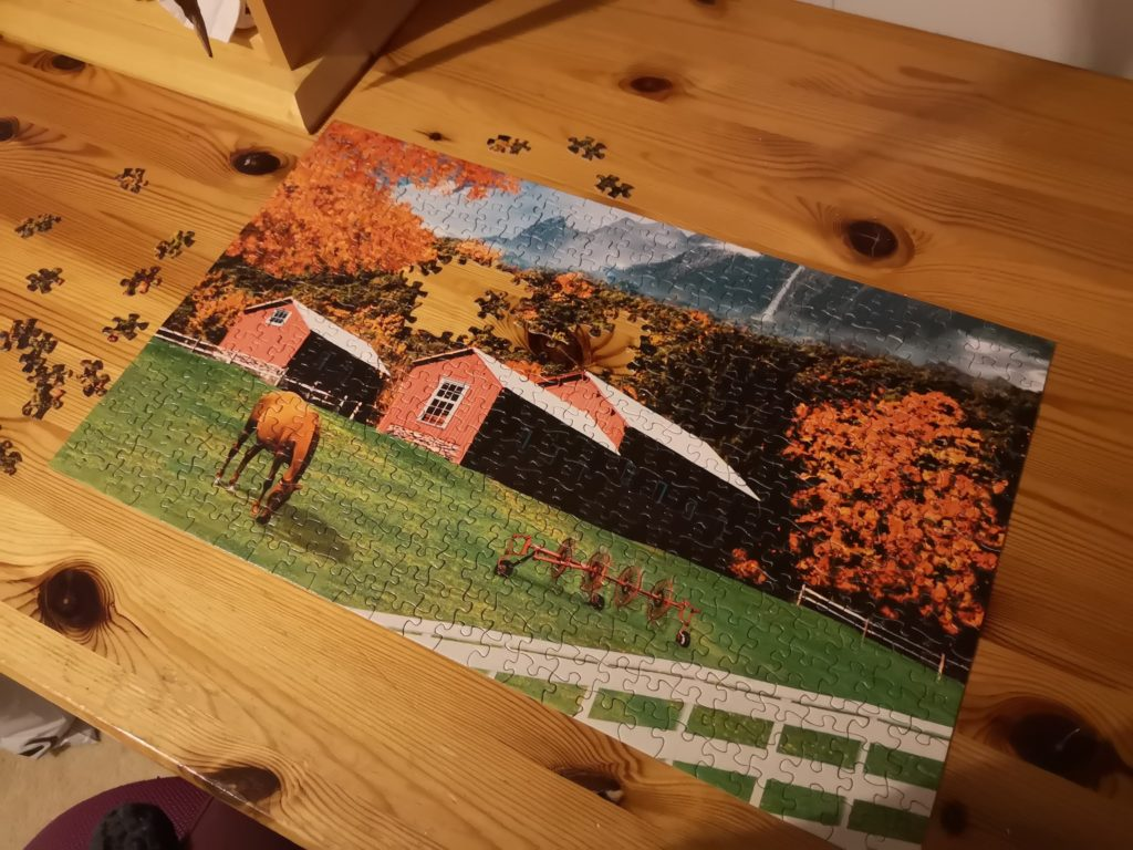 An Autumnal jigsaw, nearly completed