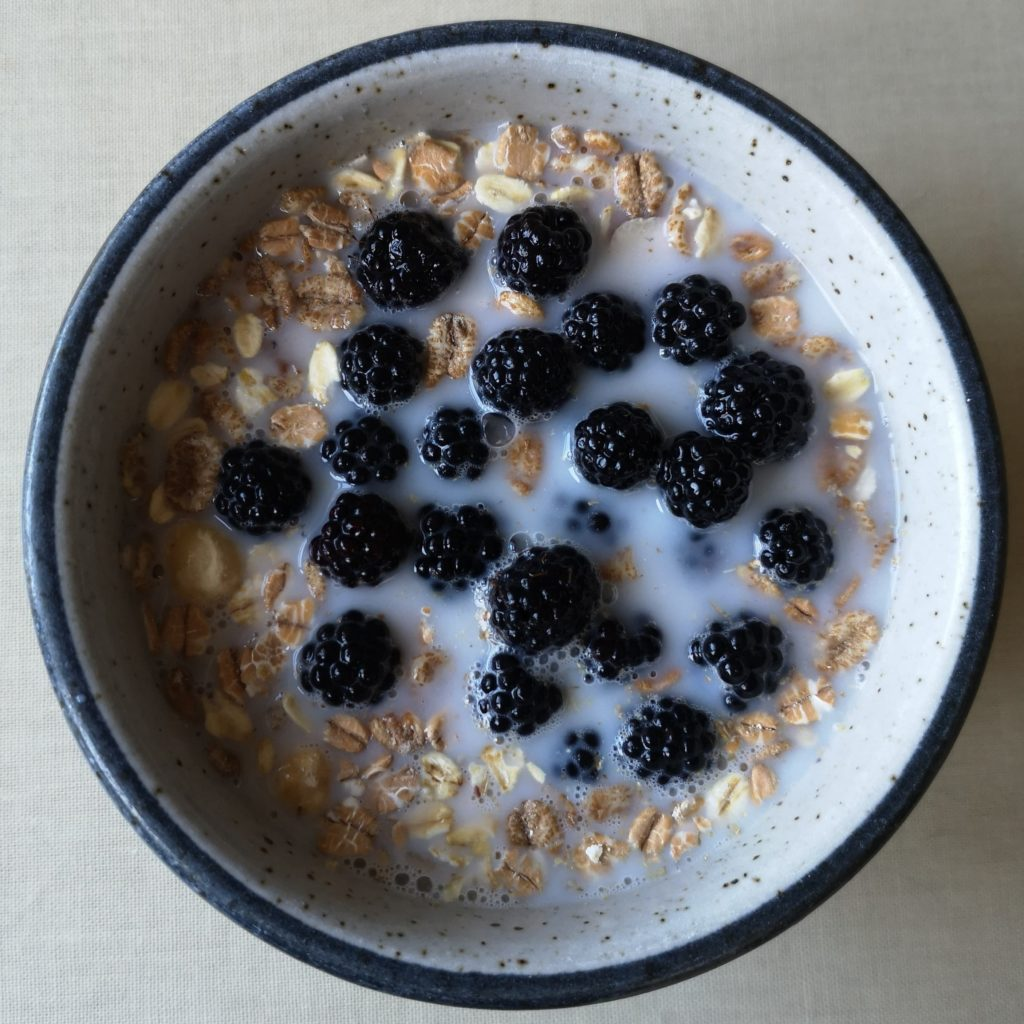 A bowl of muesli with almond milk and blackberries