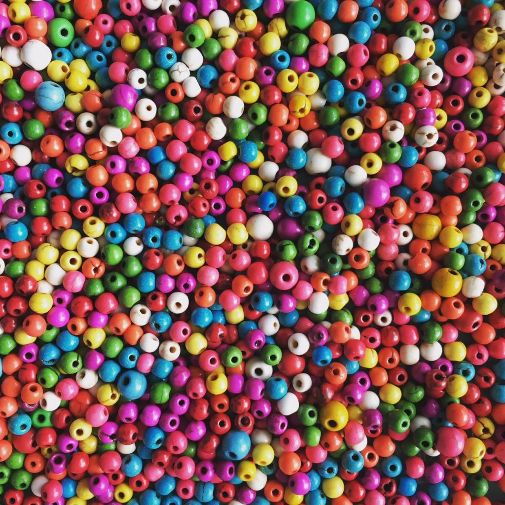 Hundreds of brightly coloured beads