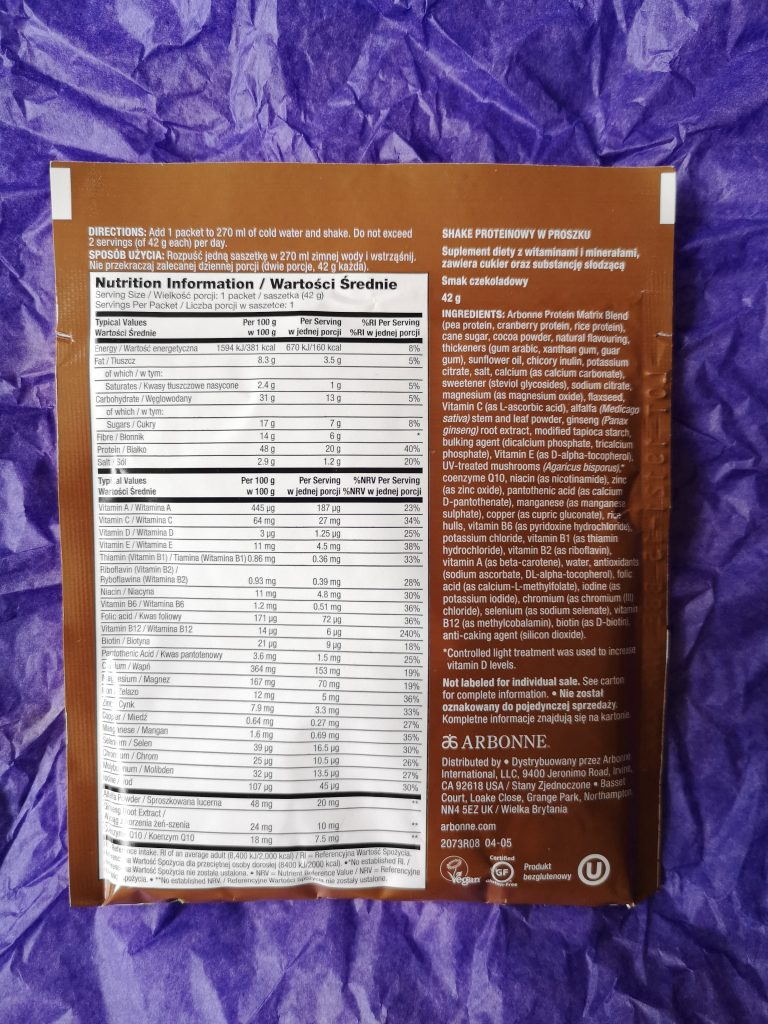 The back of the chocolate protein powder packet, showing the ingredients.