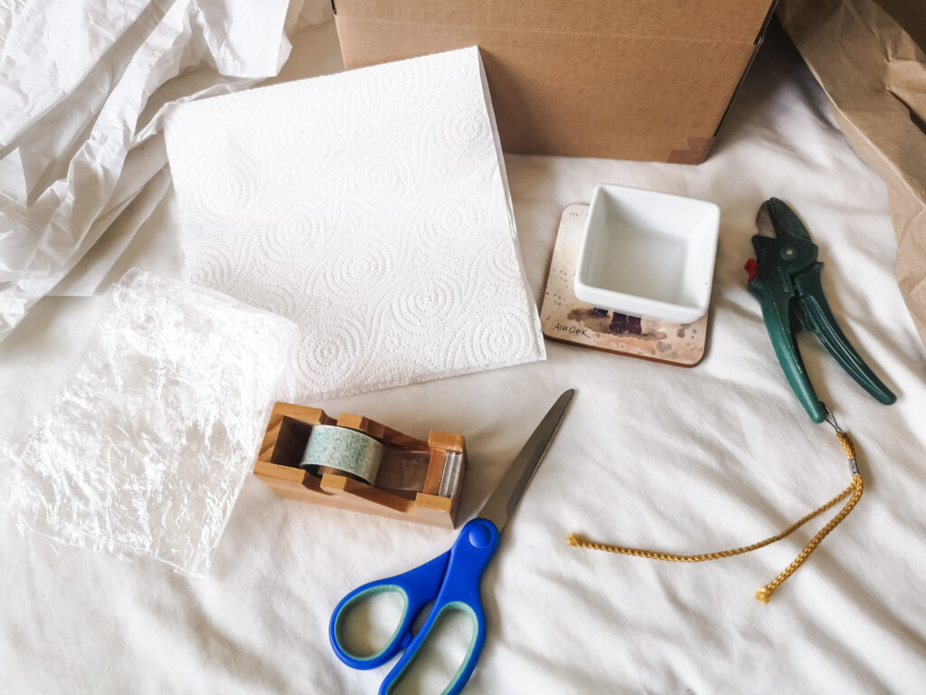Various items needed for packaging houseplant cuttings - scissors, sellotape, plastic, kitchen roll, a pot of water, secateurs, tissue paper, brown paper and a cardboard box.