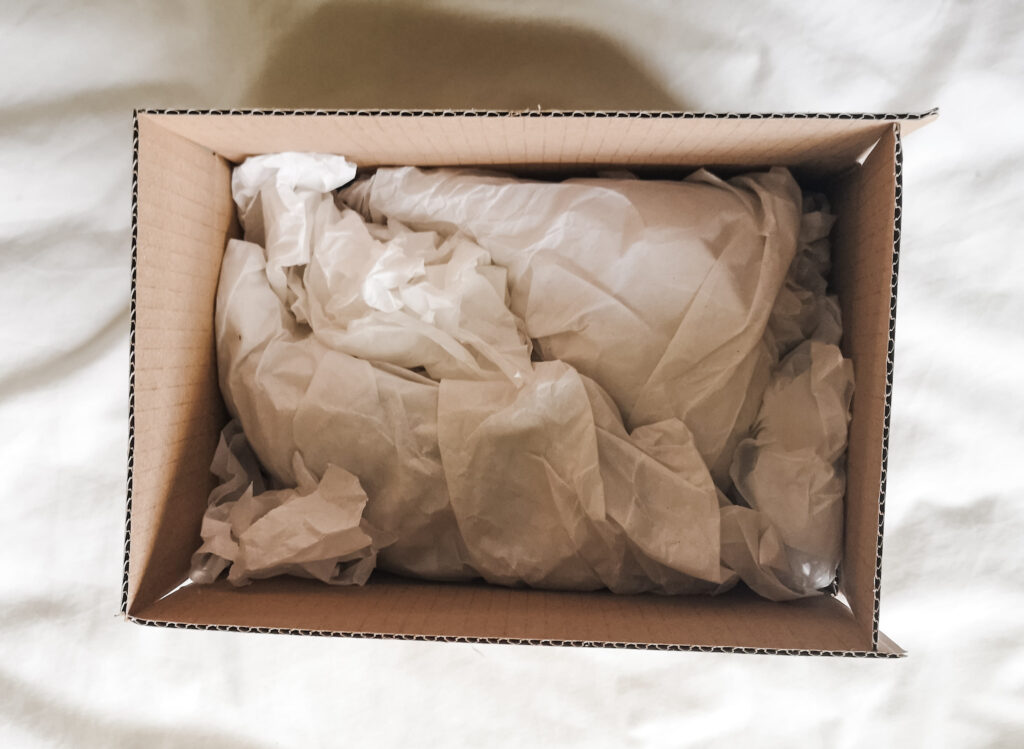 Extra tissue paper padding added into the cardboard box containing houseplant cuttings.