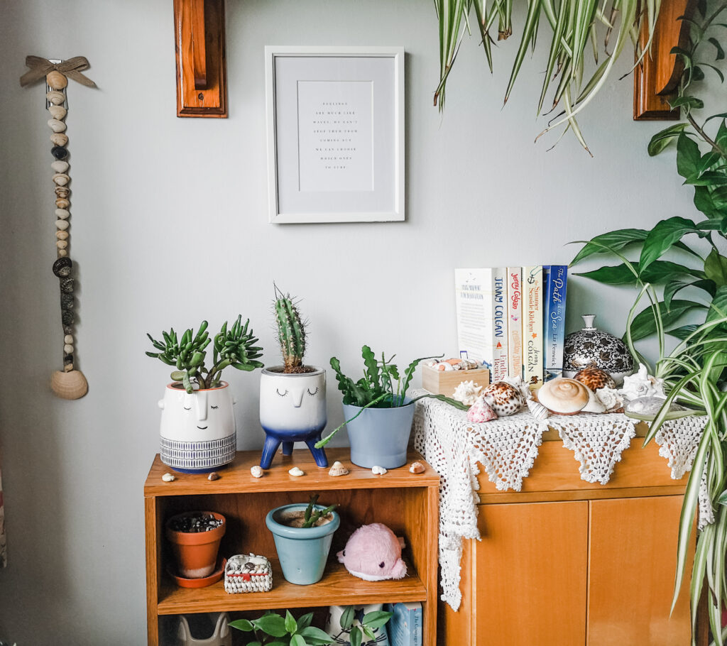 A seaside themed area including a quote poster, a shell decoration, various plants, beach themed books and shells.