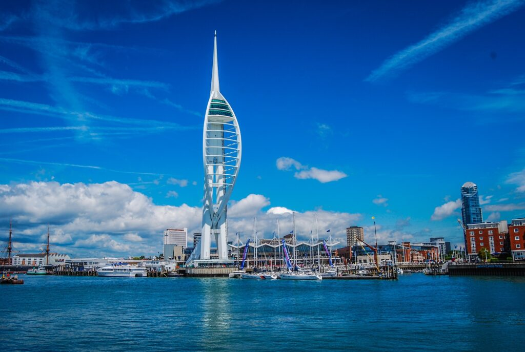 A view of the Spinnaker Tower and Portsmouth Harbour on a sunny day.