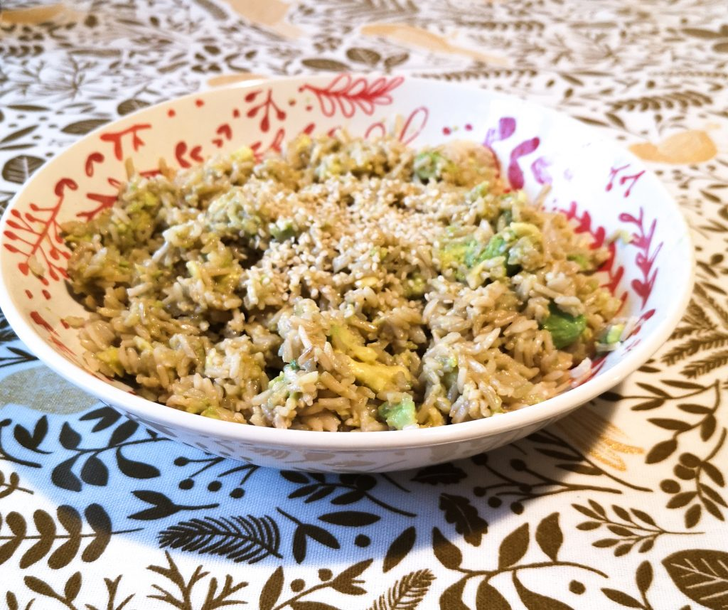 A bowl of avocado and brown rice