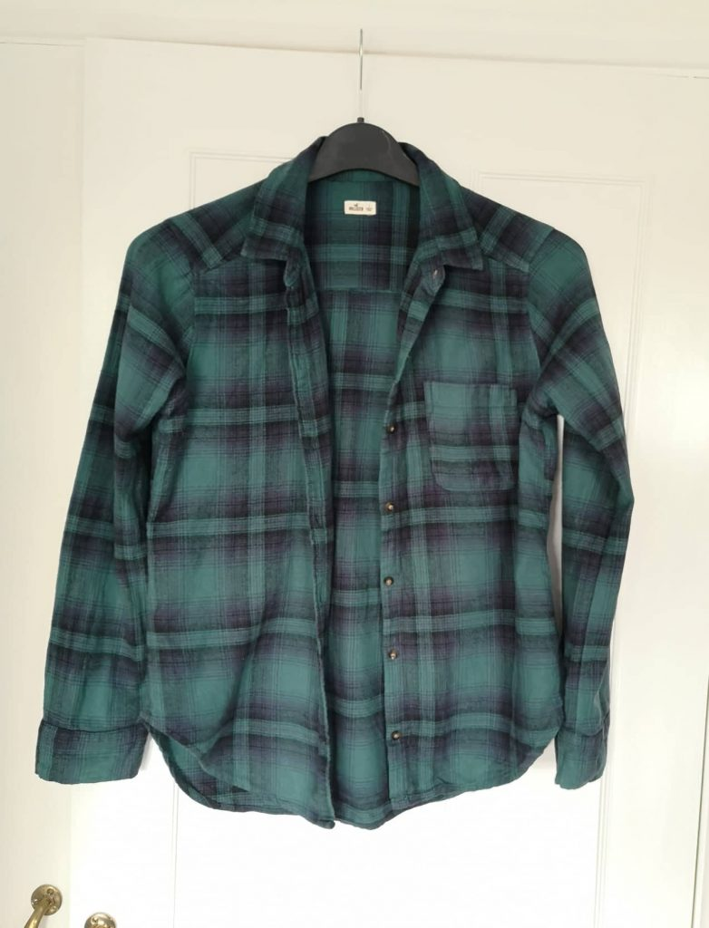 Hollister blue and green checked shirt