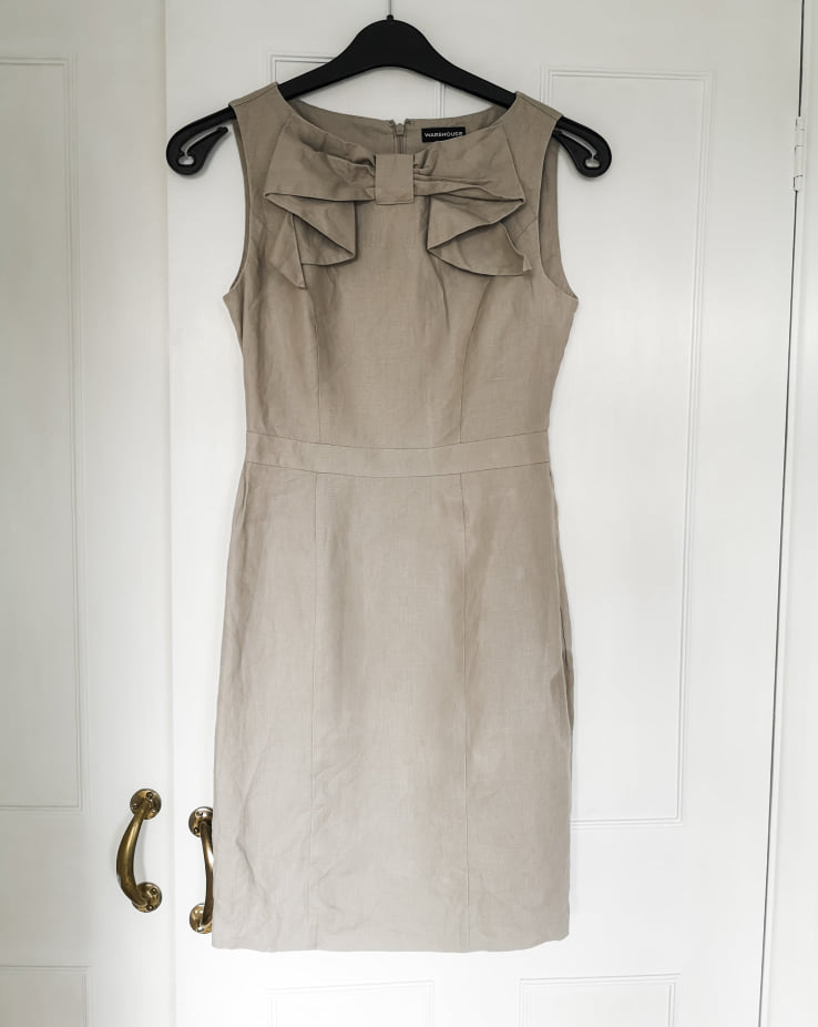 Warehouse cream dress with bow detailing