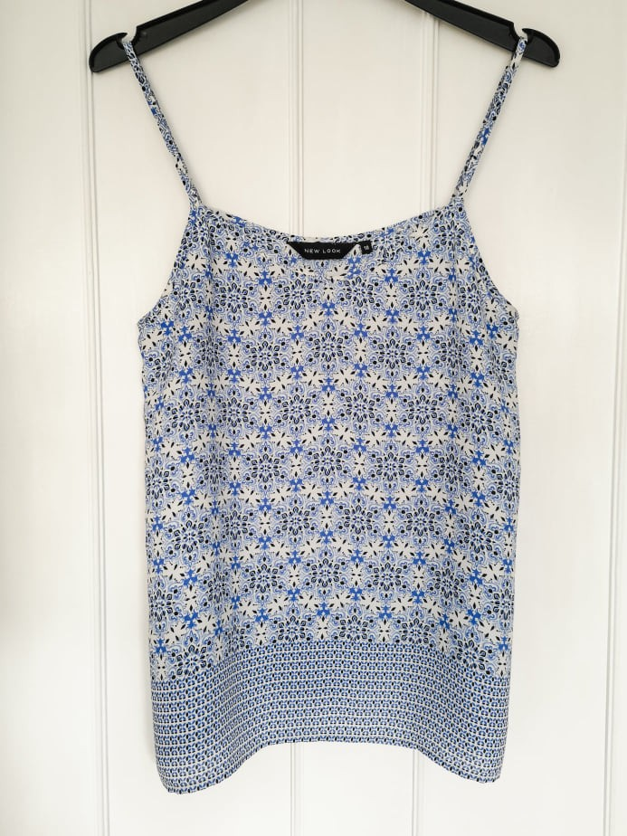 New Look blue and white cami top