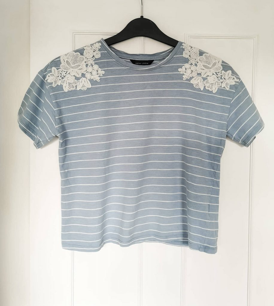 New Look light blue striped top with floral detailing on the shoulders